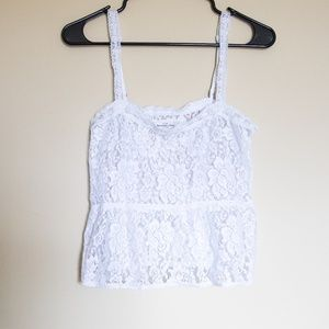 Abercrombie & Fitch White Lace Beaded Crop Top - M